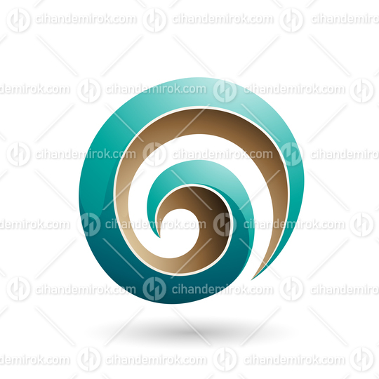 Persian Green and Beige 3d Glossy Swirl Shape Vector Illustration