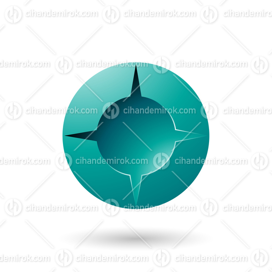Persian Green and Bold Shaded Round Icon Vector Illustration