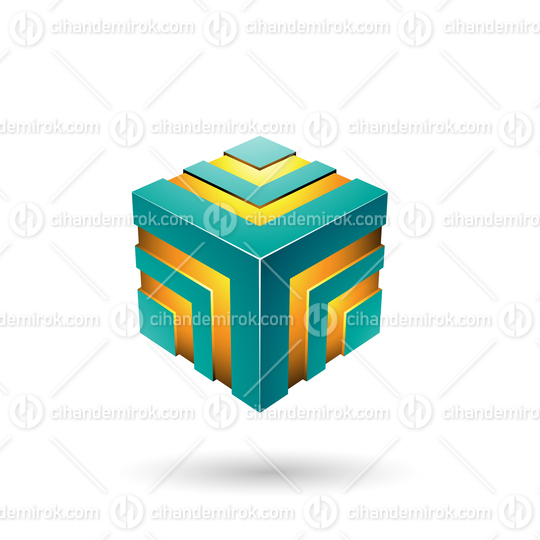 Persian Green Bold Striped Cube Vector Illustration