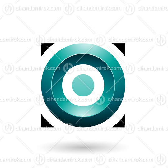Persian Green Glossy Circle in a Square Vector Illustration