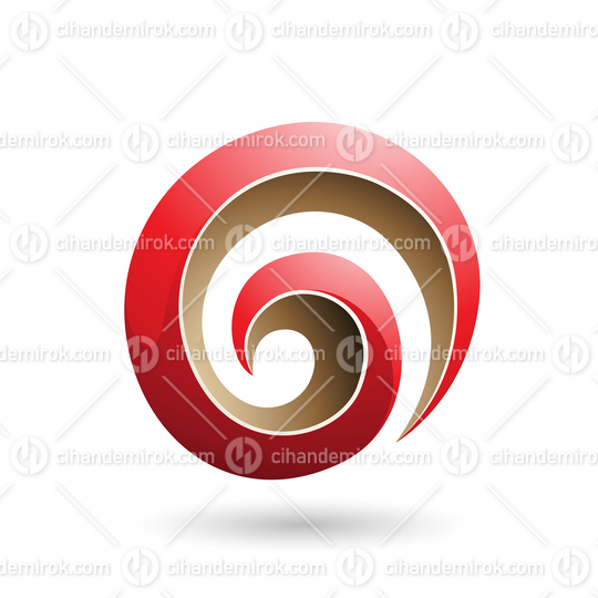 Red and Beige 3d Glossy Swirl Shape Vector Illustration