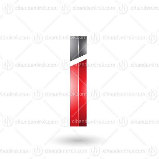 Red and Black Rectangular Glossy Letter I