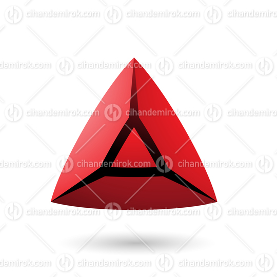 Red and Bold 3d Pyramid Vector Illustration
