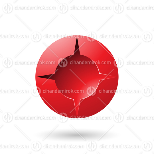 Red and Bold Shaded Round Icon Vector Illustration