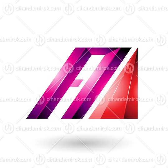 Red and Magenta Letter A of Glossy Diagonal Bars