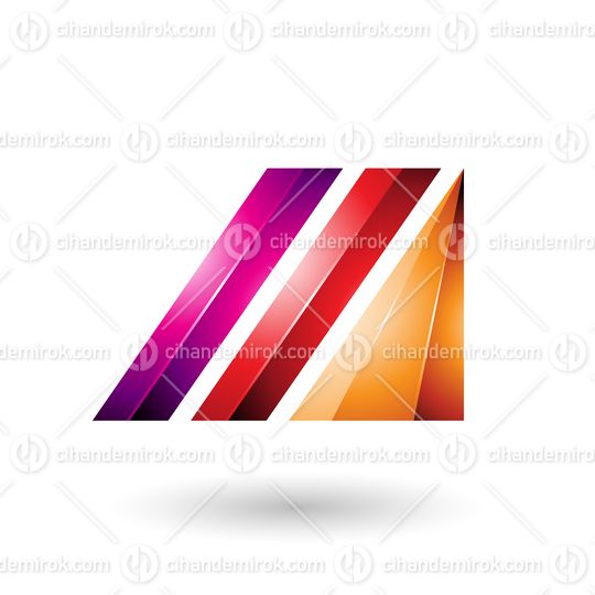 Red and Magenta Letter M of Glossy Diagonal Bars