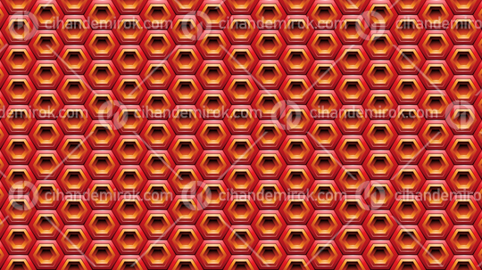 Red and Orange Embossed Hexagon Background Vector Illustration