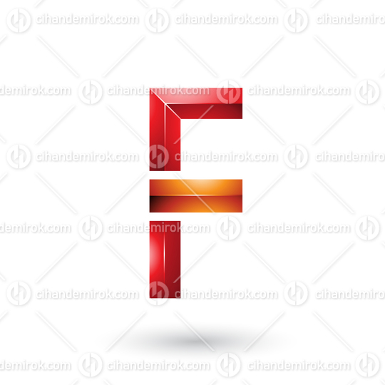 Red and Orange Geometrical Glossy Letter F Vector Illustration