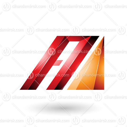 Red and Orange Letter A of Glossy Diagonal Bars