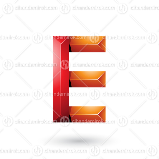 Red and Orange Pyramid Like Geometrical Letter E