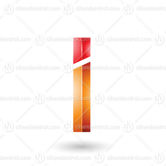 Red and Orange Rectangular Glossy Letter I