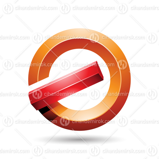 Red and Orange Round Glossy Reversed Letter G or A Icon