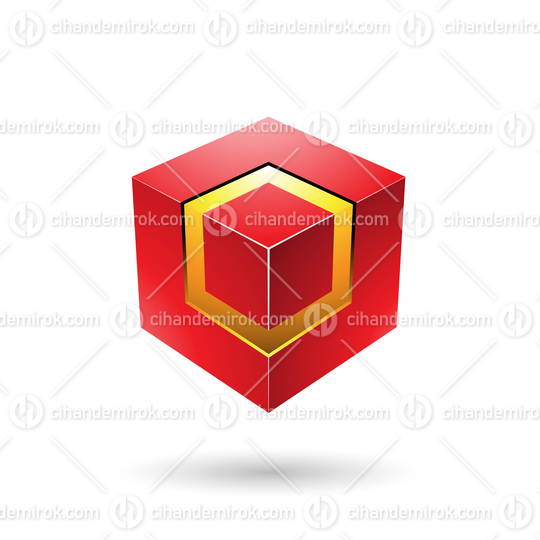 Red Bold Cube with Glowing Core Vector Illustration