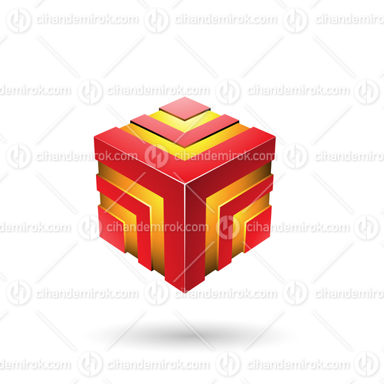 Red Bold Striped Cube Vector Illustration