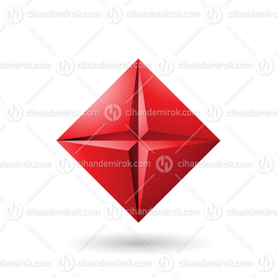 Red Diamond Icon with a Star Shape Vector Illustration