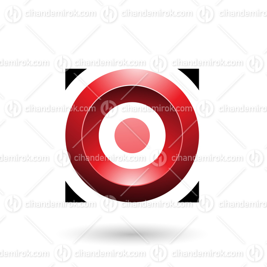 Red Glossy Circle in a Square Vector Illustration