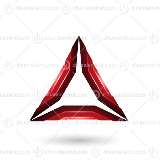 Red Glossy Mechanic Triangle Vector Illustration
