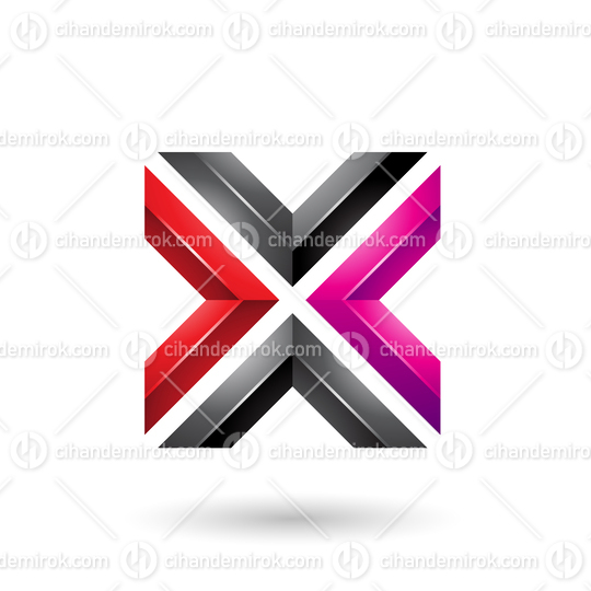 Red Magenta and Black Square Shaped Letter X Vector Illustration