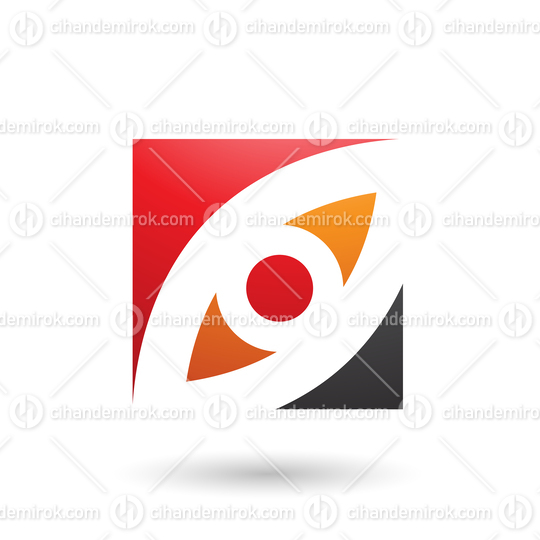 Red Orange and Black Eye Shaped Square Vector Illustration