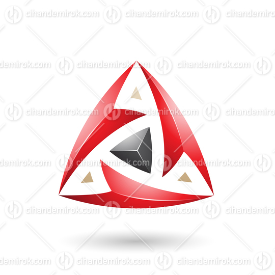 Red Triangle with Arrows Vector Illustration