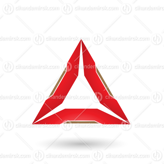 Red Triangle with Beige Edges Vector Illustration