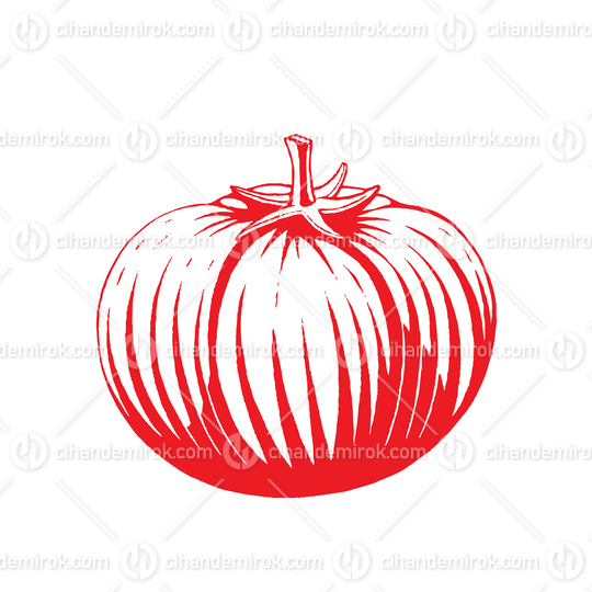 Red Vectorized Ink Sketch of Tomato Illustration