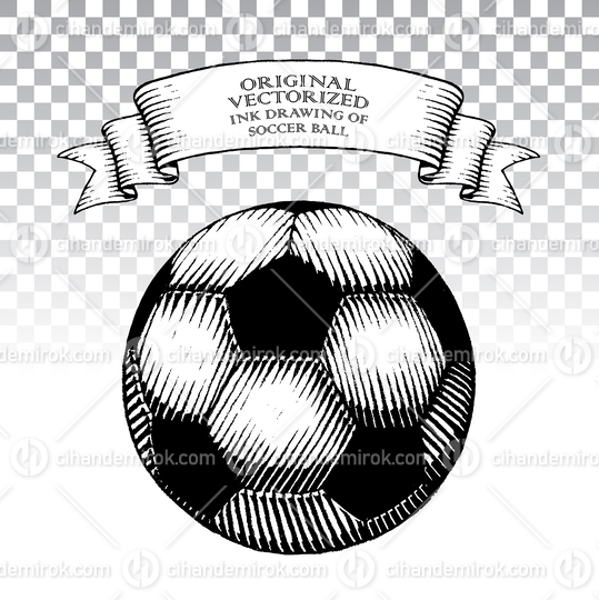 Scratchboard Style Ink Drawing of Soccer Ball