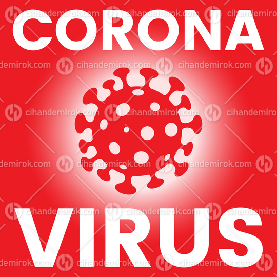 Square Poster of a Red Coronavirus Icon