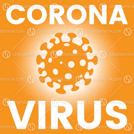 Square Poster of an Orange Coronavirus Icon
