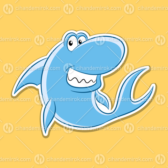 Sticker of Shark Cartoon on a Yellow Background