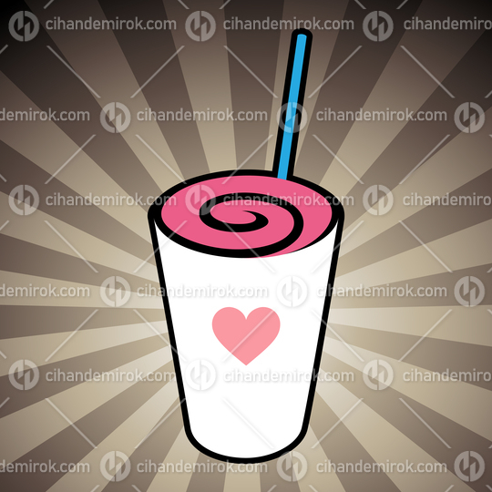 Swirly MilkShake with a Heart Icon on a Brown Striped Background