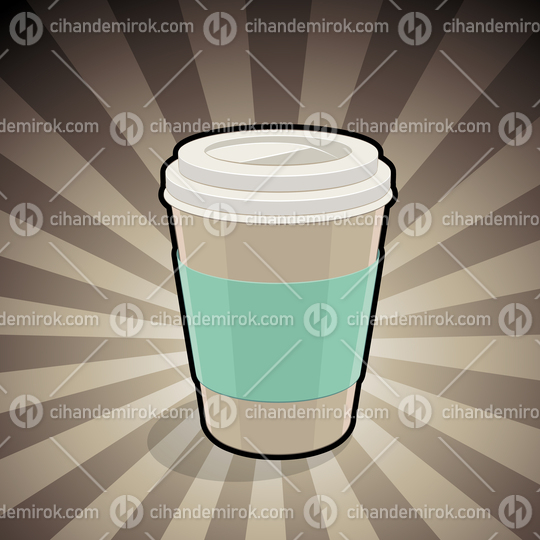 Take-Away Coffee Cup Illustration on a Brown Striped Background
