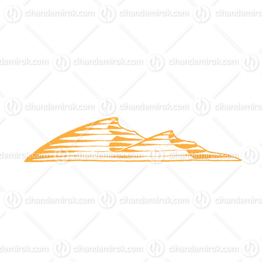 Yellow Vectorized Ink Sketch of Sand Dunes Illustration